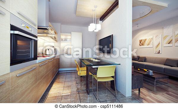 interno, cucina, moderno, render, 3d - csp5111486