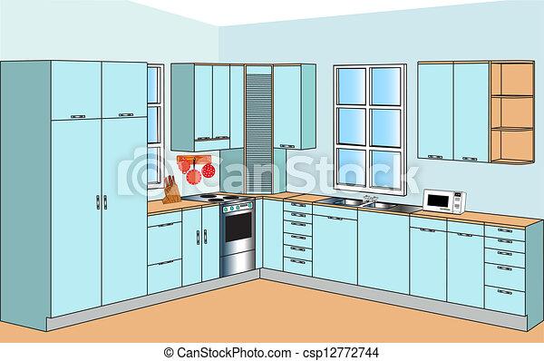 Interno, cucine, mobilia. Blu, interno, mobilia, cucine, color.