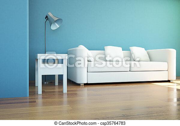 interno, divano, lampada - csp35764783