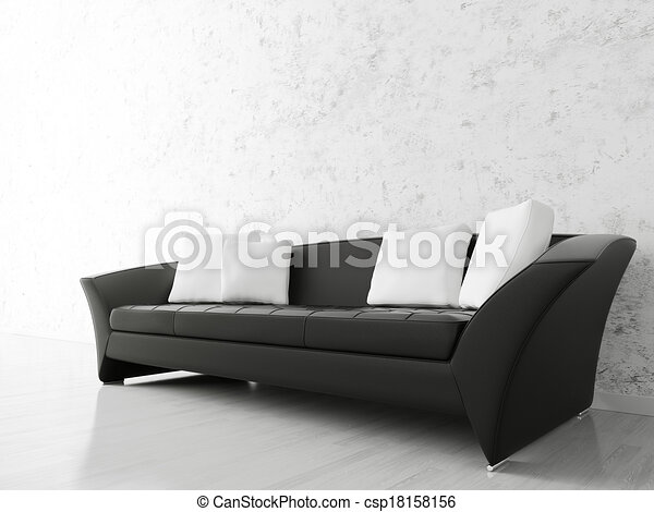 Divano Nero Moderno : Interno divano nero parete divano sopra moderno nero