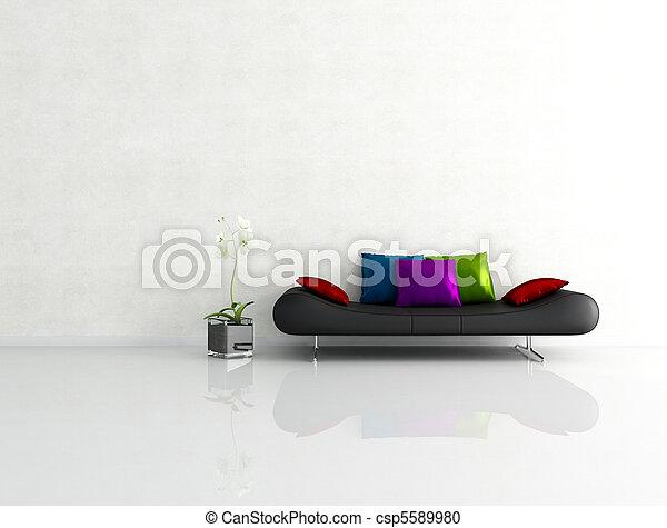 interno, minimalista, bianco, moda, divano - csp5589980