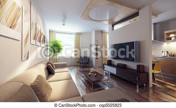 interno, moderno, 3d - csp5025823