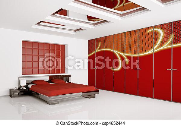 interno, moderno, camera letto, render, 3d - csp4652444