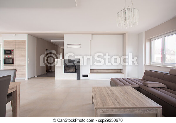 interno, moderno, caminetto - csp29250670