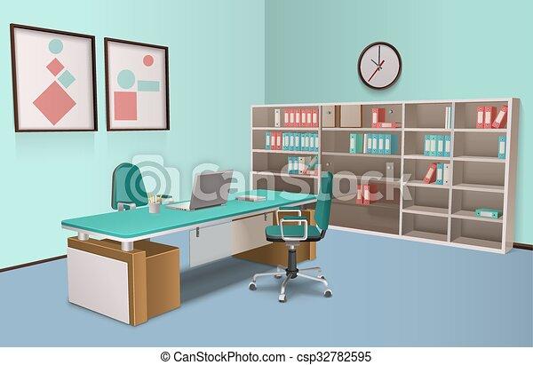 Capo Ufficio Disegno : Interno realistico grande ufficio capo. centro calcolo ufficio