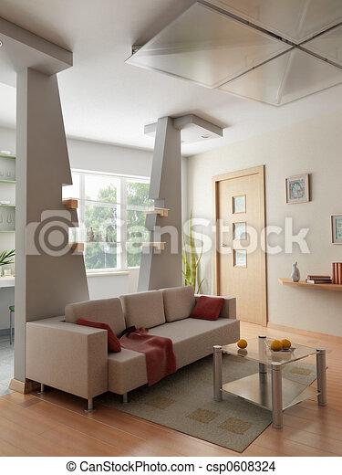 interno, render, 3d - csp0608324