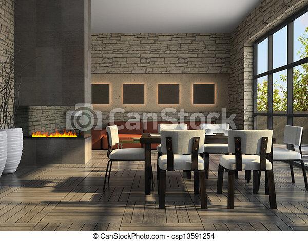 interno, soggiorno, caminetto - csp13591254
