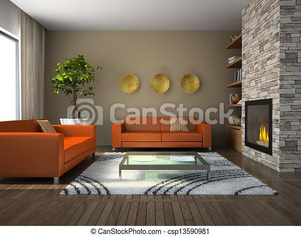 interno, soggiorno, moderno - csp13590981