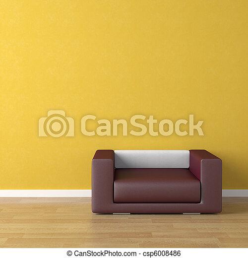 interno, viola, disegno, divano giallo - csp6008486