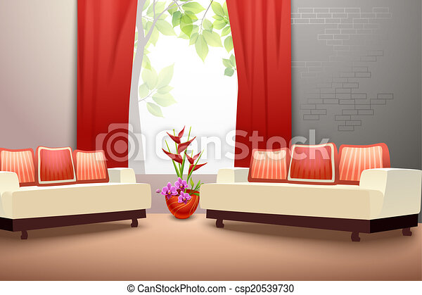 interno, vivente, disegno, stanza - csp20539730