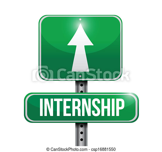 internship road sign illustration design - csp16881550