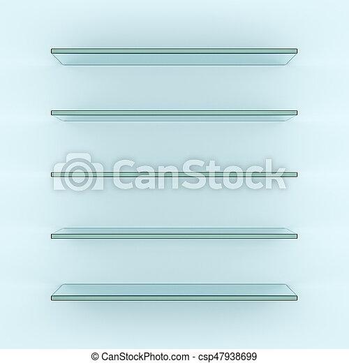 Interpretacin 3d estantes vidrio vaco Estantes rendering