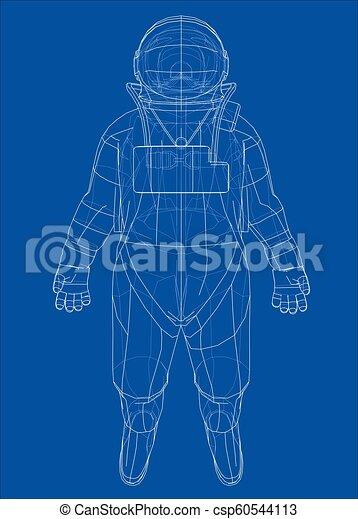 Concepto de astronauta. Vector de 3D - csp60544113