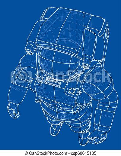 Concepto de astronauta. Vector de 3D - csp60615105
