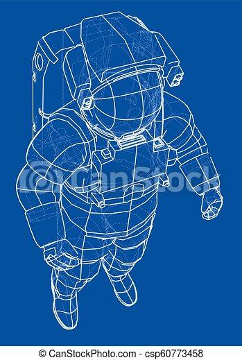 Concepto de astronauta. Vector de 3D - csp60773458