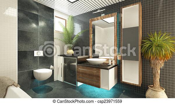 Interpretación, cuarto de baño, diseño, 3d. Sedat, siete ...