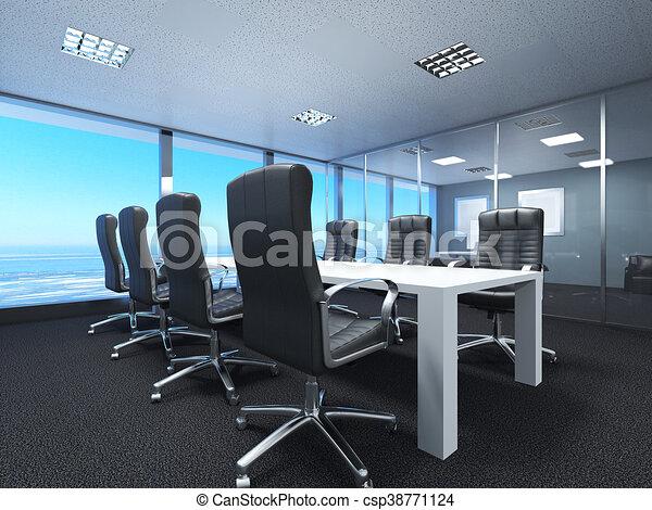 interpretazione, 3d, spazio ufficio - csp38771124