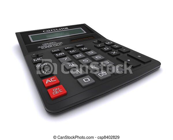interpretazione, nero, calculator., ufficio, 3d - csp8402829