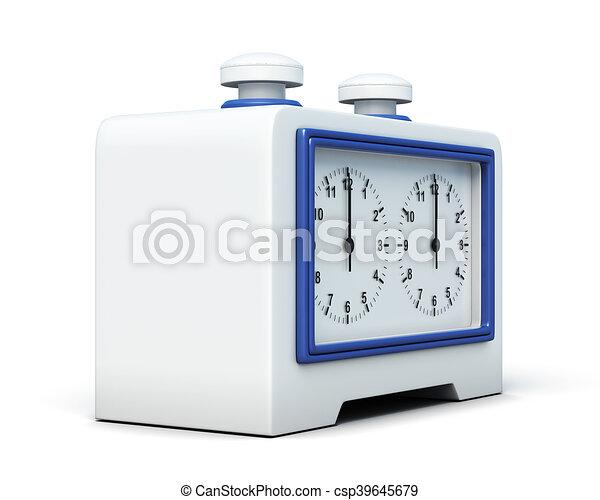 interpretazione, orologio, isolato, fondo., scacchi, bianco, 3d - csp39645679