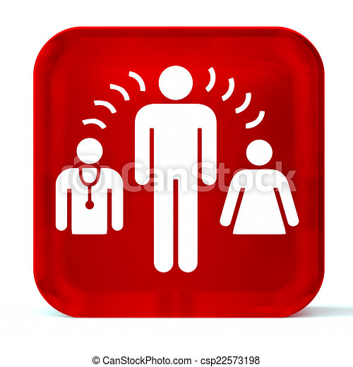 Interpreter Services Glass Button Icon With White Health Care Sign