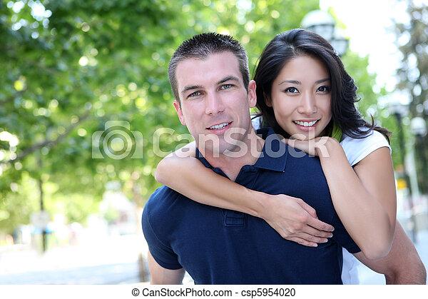 interracial, 愛, 魅力的, 恋人 - csp5954020