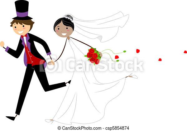 Line Art Couple : Interracial couple illustration of newlyweds on