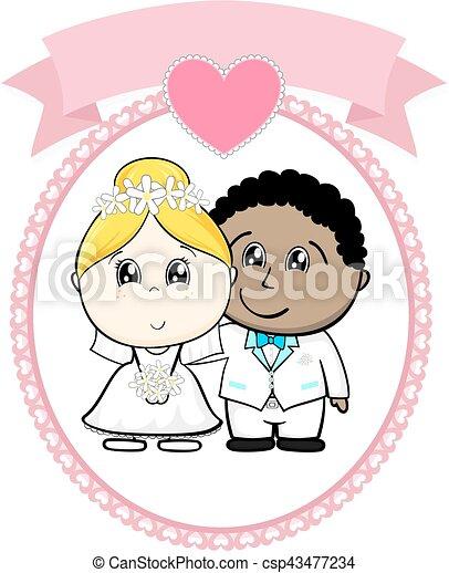 interracial couple wedding - csp43477234