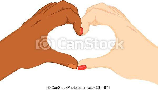 Interracial Heart Hands - csp43911871