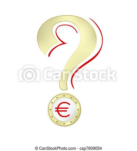 Interrogation, euro, penge, mærke. -, illustration, tegn, vektor, imod, baggrund, hvid, krise, euro.