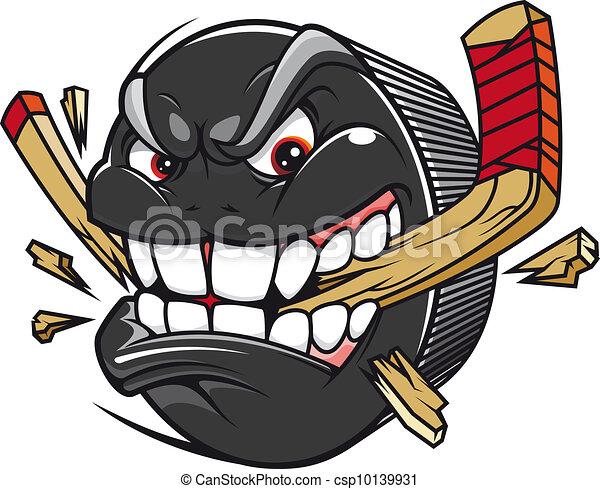 Hockey puck rompe el palo de hockey - csp10139931