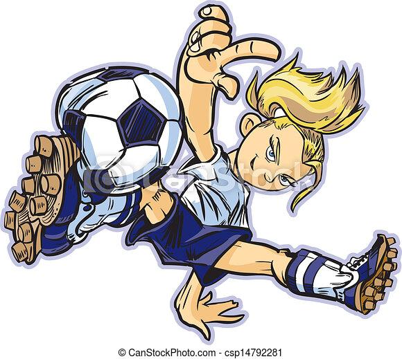 Una chica blanca que bailaba fútbol - csp14792281