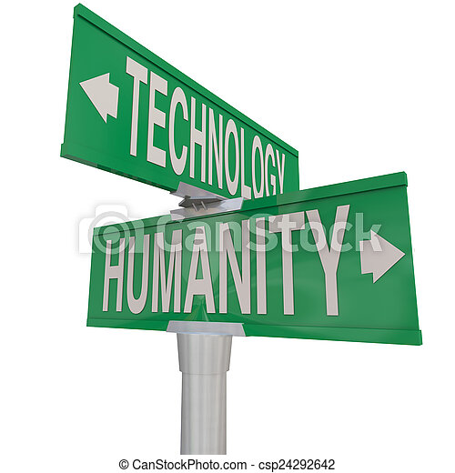 Intersection of Technology and Humanity Modern Digital Age Vs Na - csp24292642