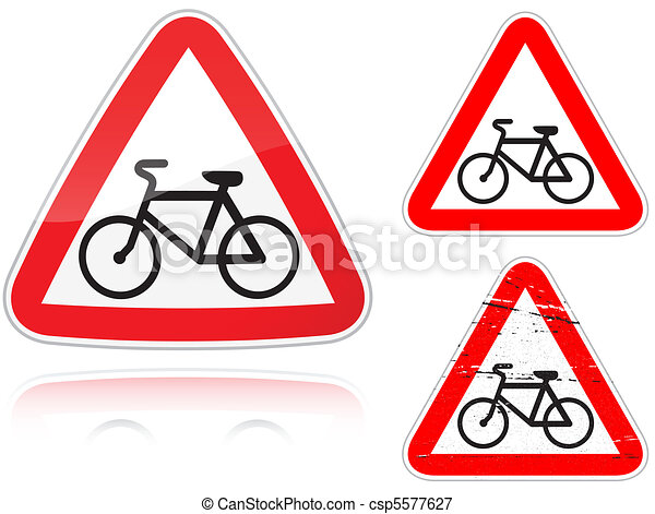 Intersection with the bike road - road sign - csp5577627