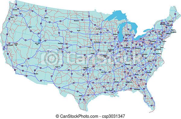 interstate, verenigd, kaart, staten - csp3031347