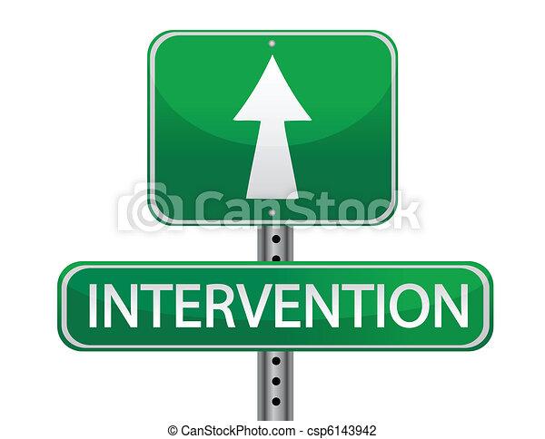 intervention street sign concept - csp6143942