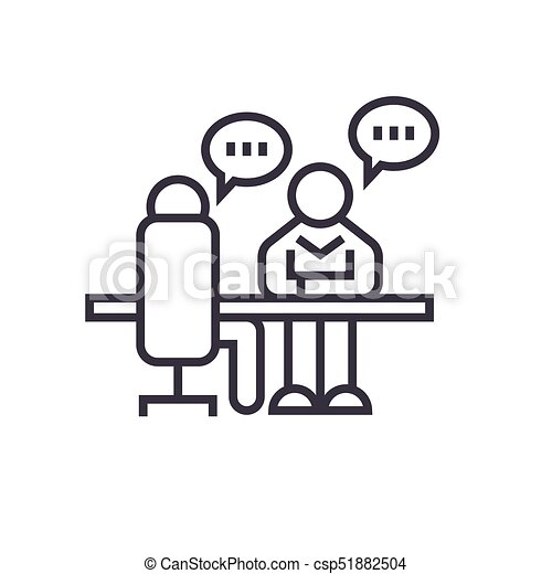 Interview Office Discussion Concept Vector Thin Line Icon Symbol