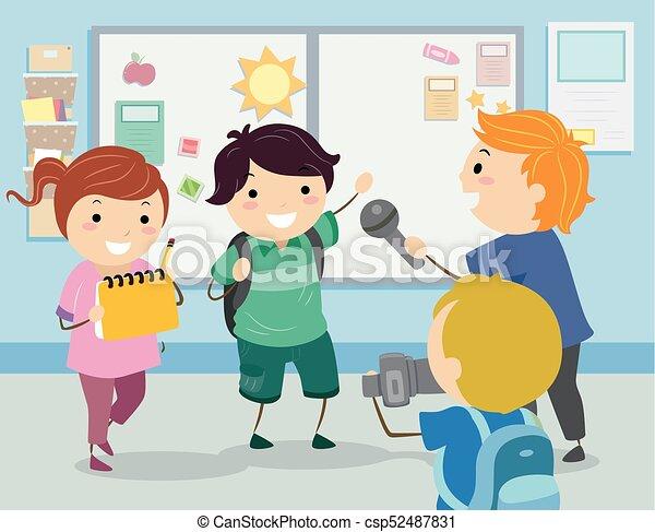 intervista, bambini scuola, stickman, illustrazione - csp52487831