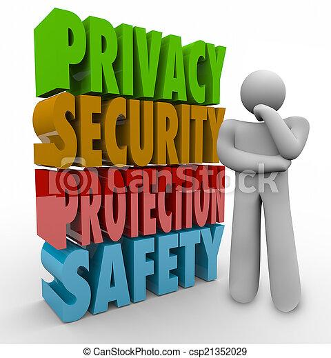 Protección de la privacidad. Pensador de seguridad 3D palabras - csp21352029