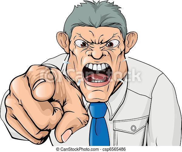 El jefe insultante gritando y señalando - csp6565486