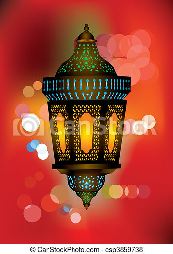 Intricate arabic lamp with beautiful lights in the background - csp3859738