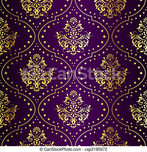 Intricate Gold on Purple seamless sari pattern - csp3195972