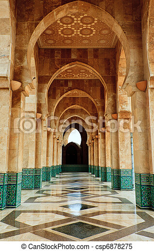 Intricate marble and mosaic archway outside mosque - csp6878275