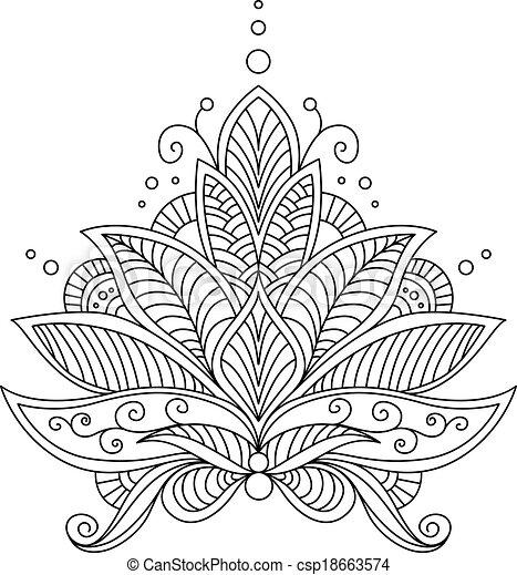 Intrincado, diseño floral, motivo, delicado. Motivo, contorno ...