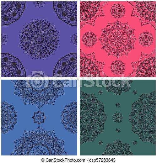 Un colorido intrincado patrón mandala sin costura - csp57283643