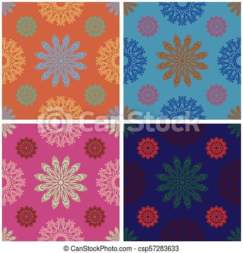 Un colorido intrincado patrón mandala sin costura - csp57283633