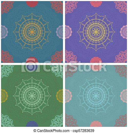 Un colorido intrincado patrón mandala sin costura - csp57283639