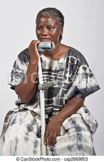 invalid old African woman - csp2669803