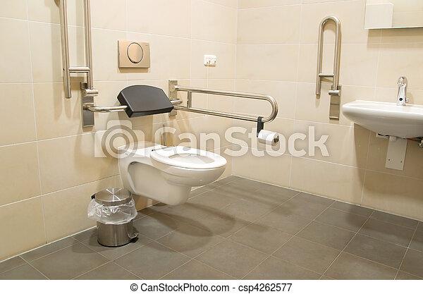 Invalide, badkamer, mensen. Invalide, restroom, publiek, mensen.