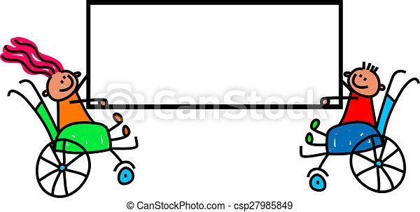 invalido, bambini, segno - csp27985849
