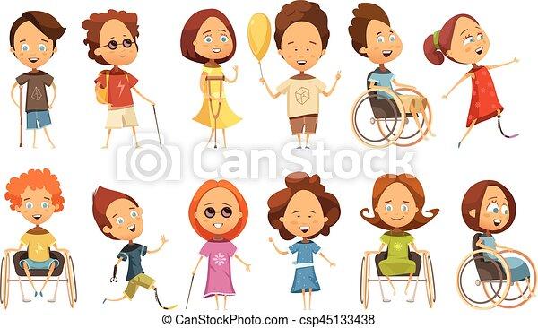 invalido, bambini, set - csp45133438